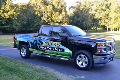 Lyons Roofing Company Truck with New Wrap