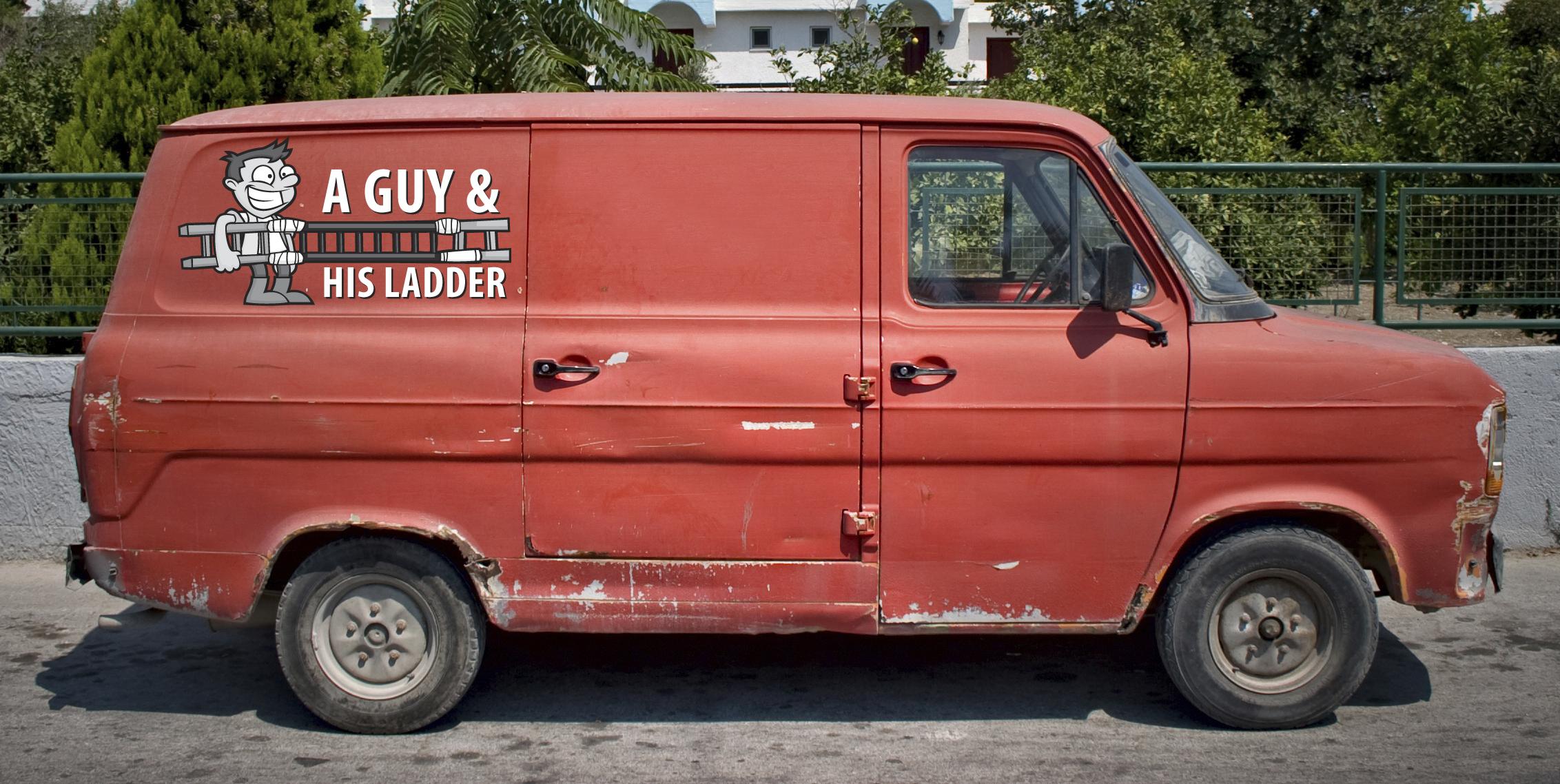 Old, red van in summertime